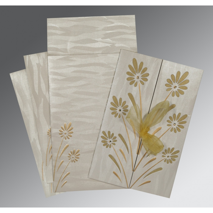 Ivory Shimmery Floral Themed - Embossed Wedding Card : AG-1372