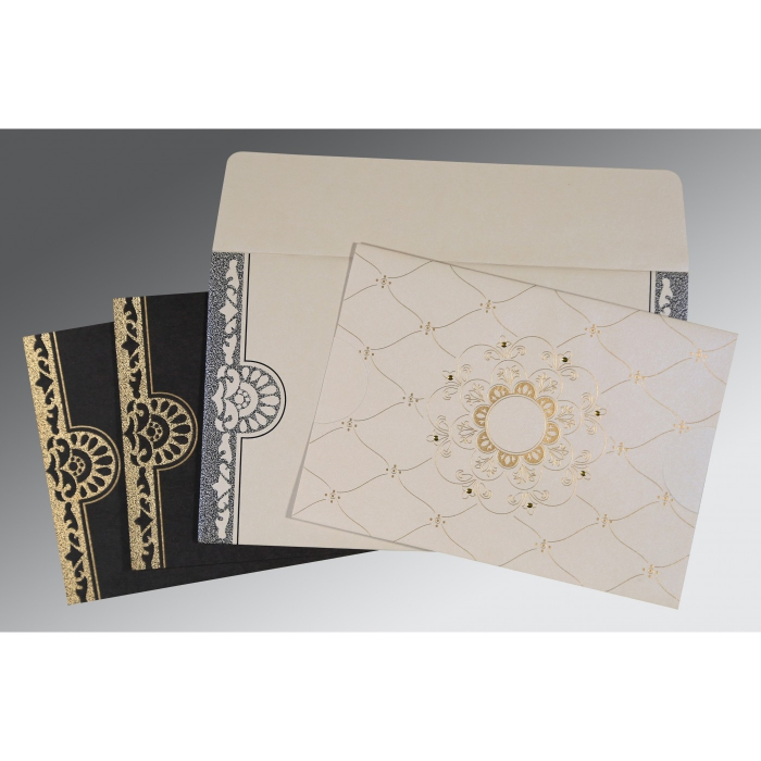 Ivory Shimmery Floral Themed - Screen Printed Wedding Card : AC-8227A