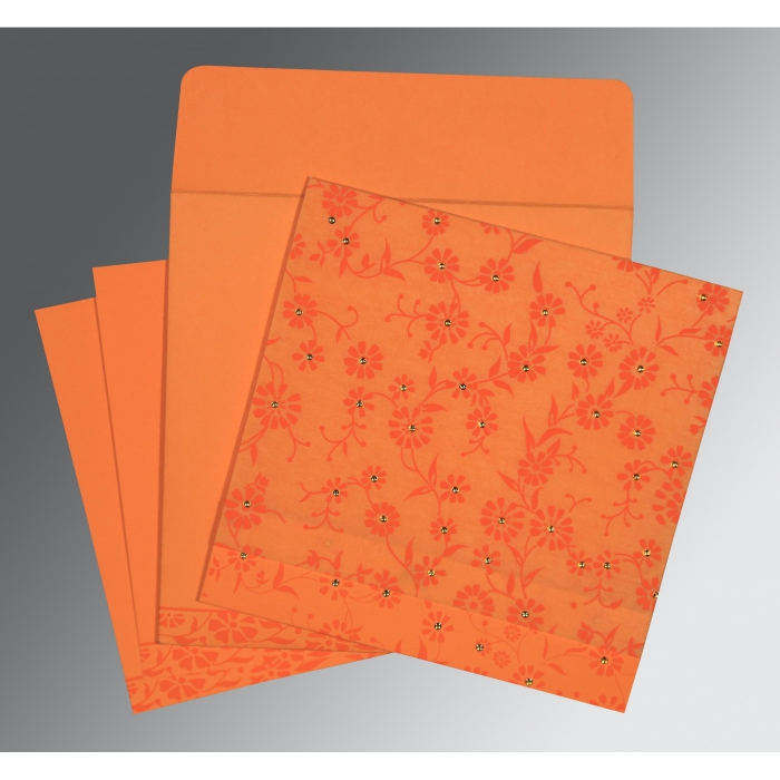 Orange Wooly Floral Themed - Screen Printed Wedding Card : AG-8222C