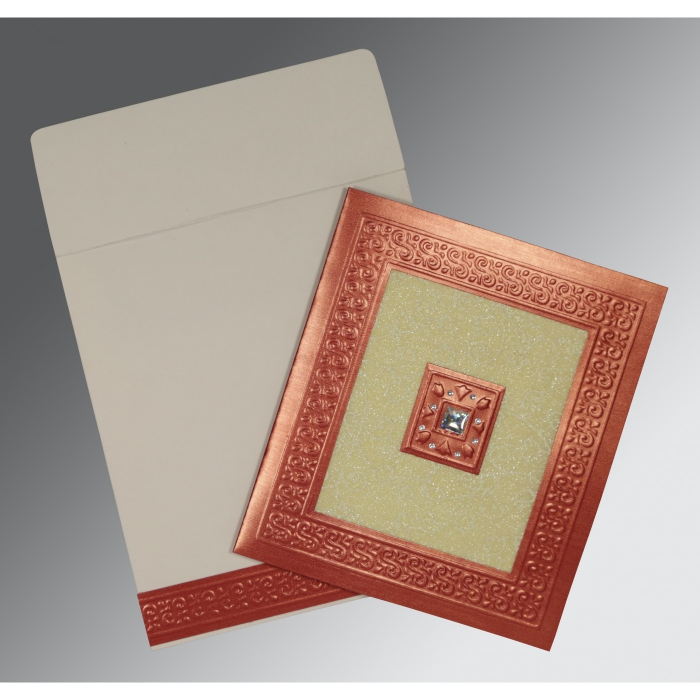 Red Shimmery Embossed Wedding Invitation : AC-1411