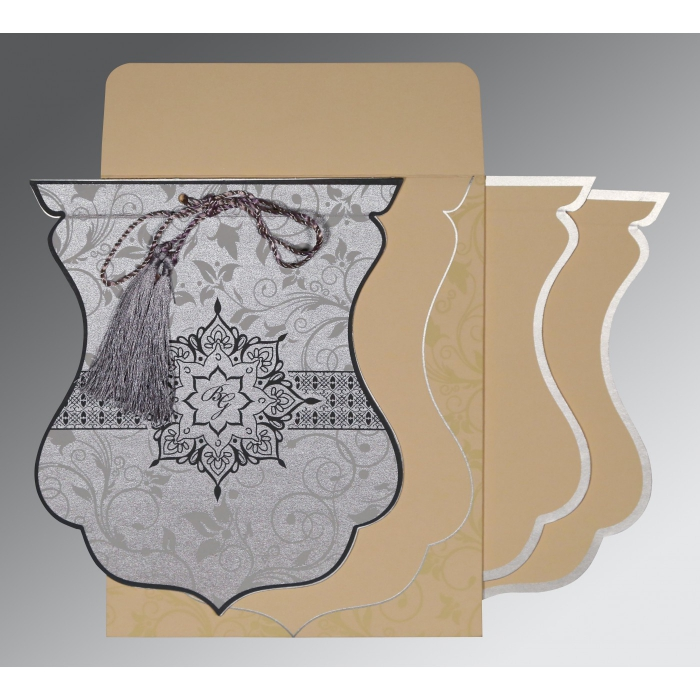 Shimmery Floral Themed - Screen Printed Wedding Card : AG-8229B
