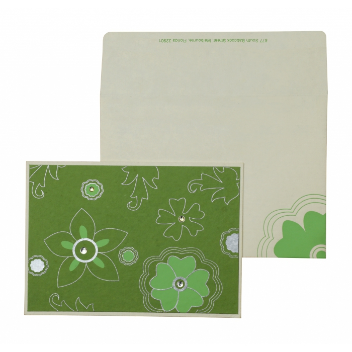 White Parrot Green Handmade Cotton Floral Themed - Screen Printed Wedding Invitation : AH-848