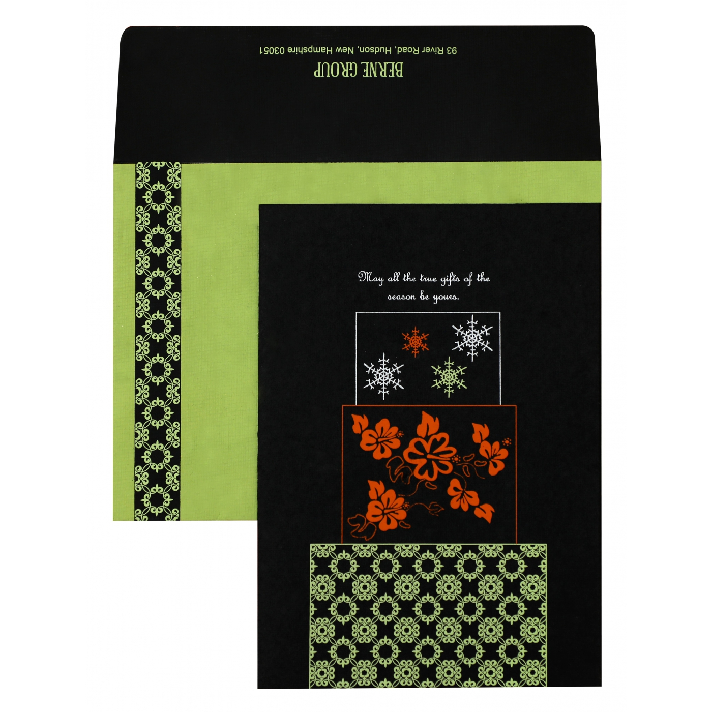 BLACK HANDMADE COTTON FLORAL THEMED - SCREEN PRINTED HOLIDAY CARDS : AH-851 - A2zWeddingCards