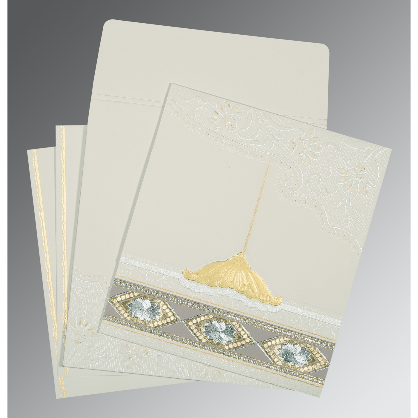 OFF-WHITE MATTE BOX THEMED - FOIL STAMPED WEDDING CARD : AIN-1228 - A2zWeddingCards