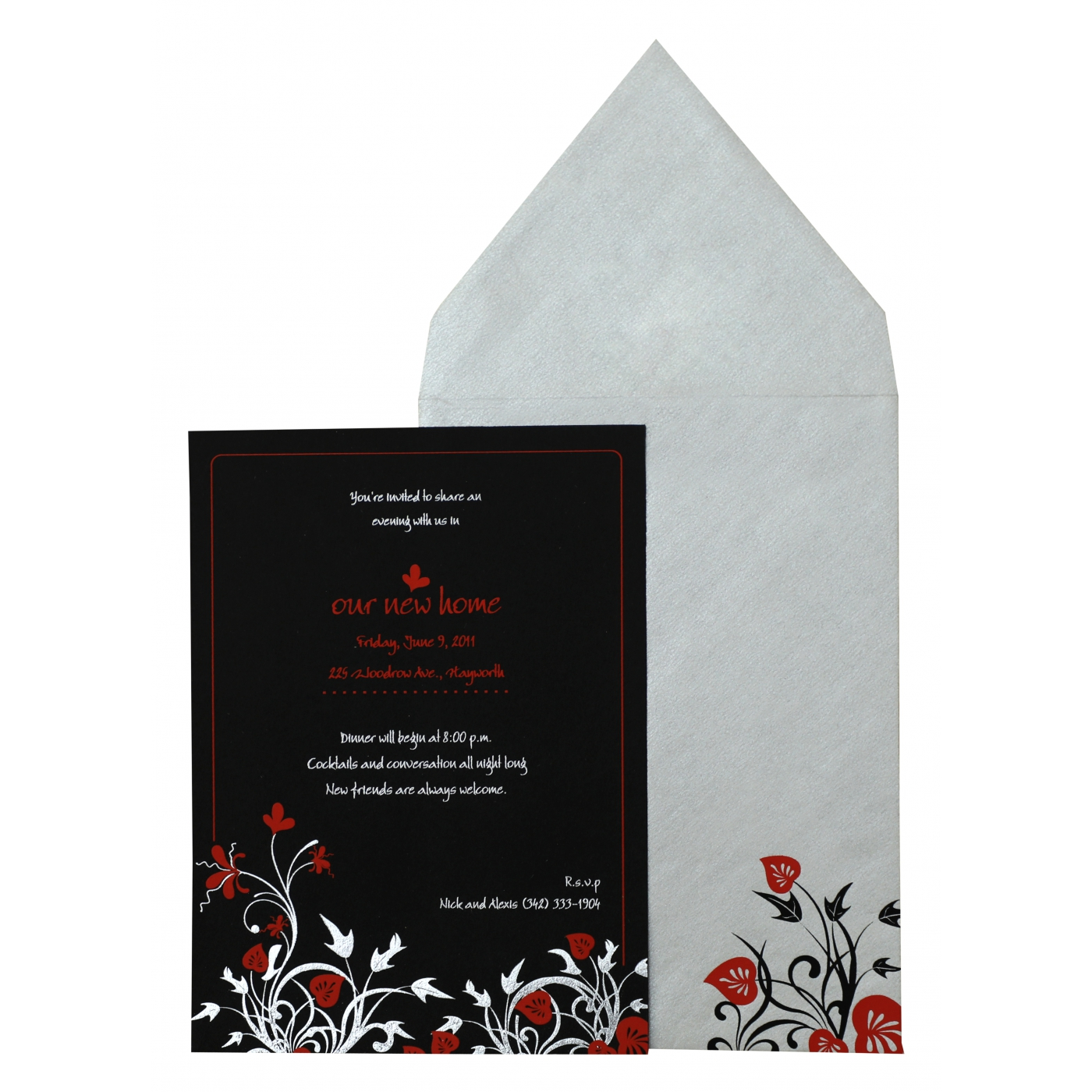 BLACK MATTE FLORAL THEMED - FOIL STAMPED PARTY CARDS : APY-880 - A2zWeddingCards