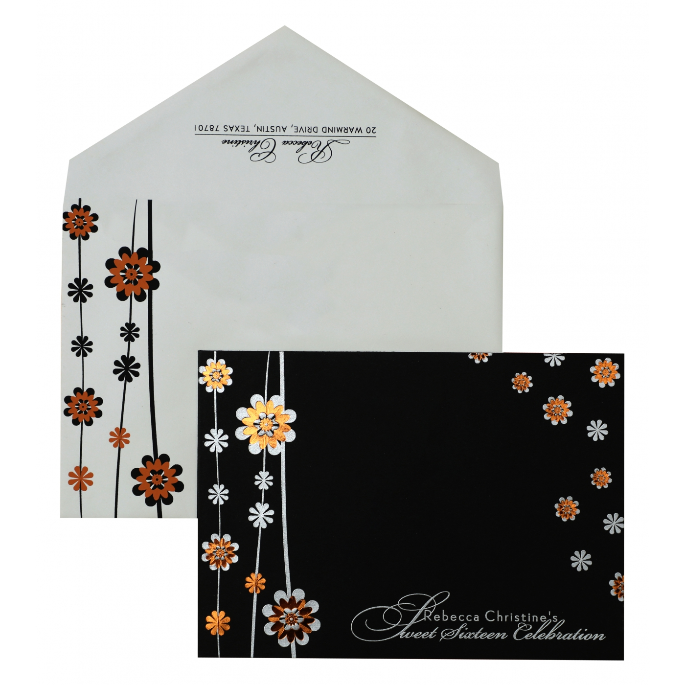 BLACK MATTE FLORAL THEMED - FOIL STAMPED PARTY CARDS : APY-887 - A2zWeddingCards