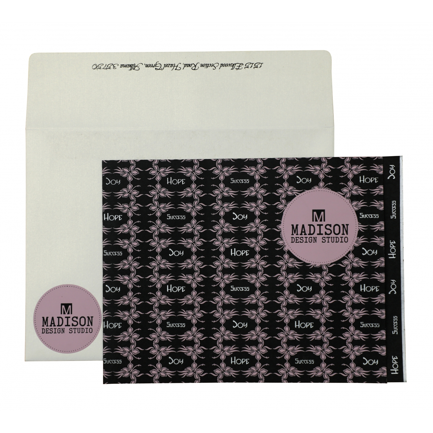 BLACK MATTE FLORAL THEMED - SCREEN PRINTED HOLIDAY CARDS : AH-874 - A2zWeddingCards