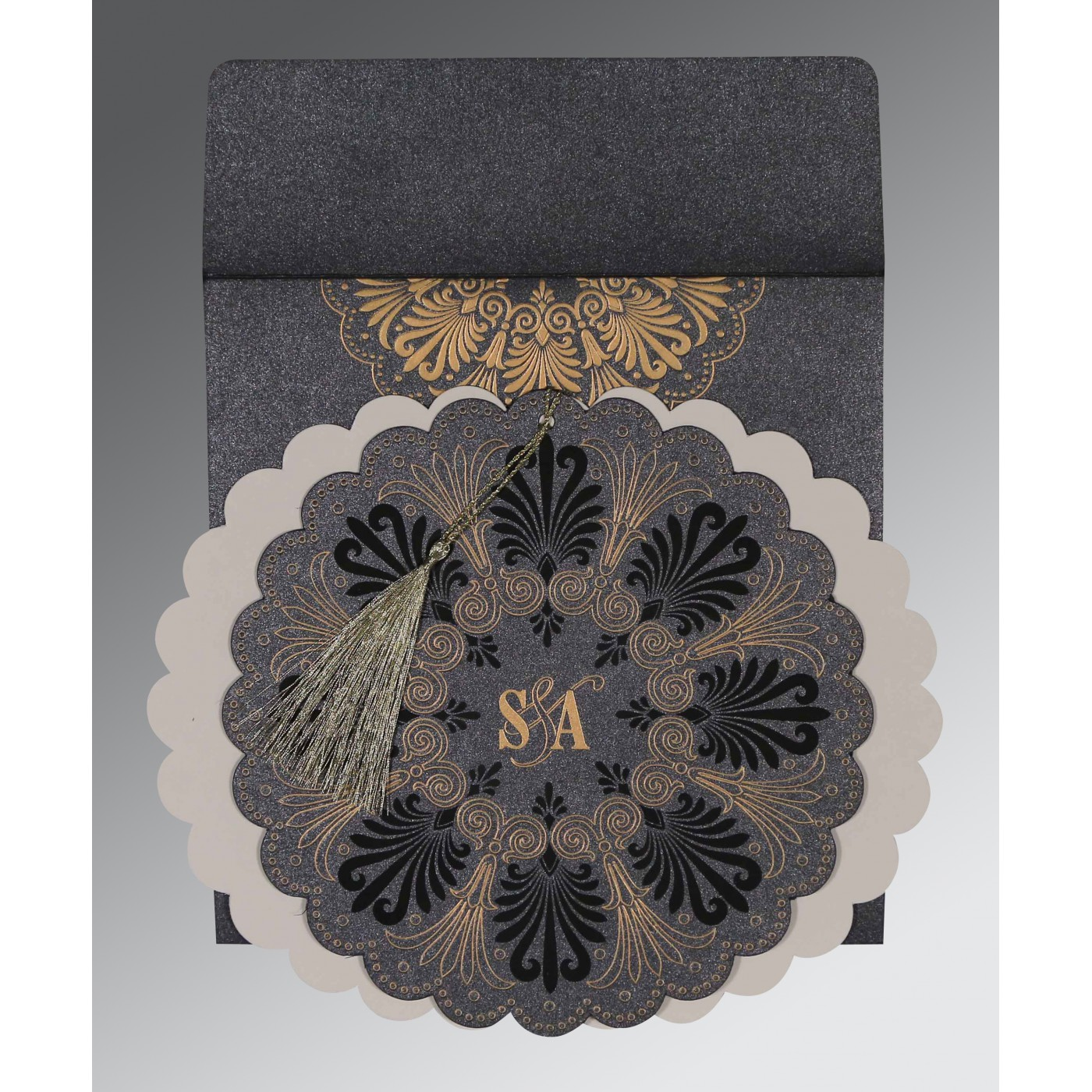 GRAPHITE GREY SHIMMERY FLORAL THEMED - EMBOSSED WEDDING CARD : AS-8238D - A2zWeddingCards
