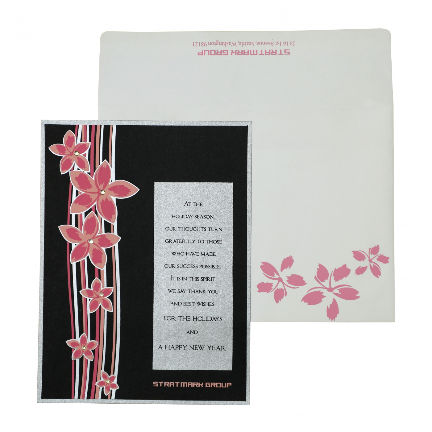 BLACK SILVER MATTE FLORAL THEMED - SCREEN PRINTED HOLIDAY CARDS : AH-867 - A2zWeddingCards