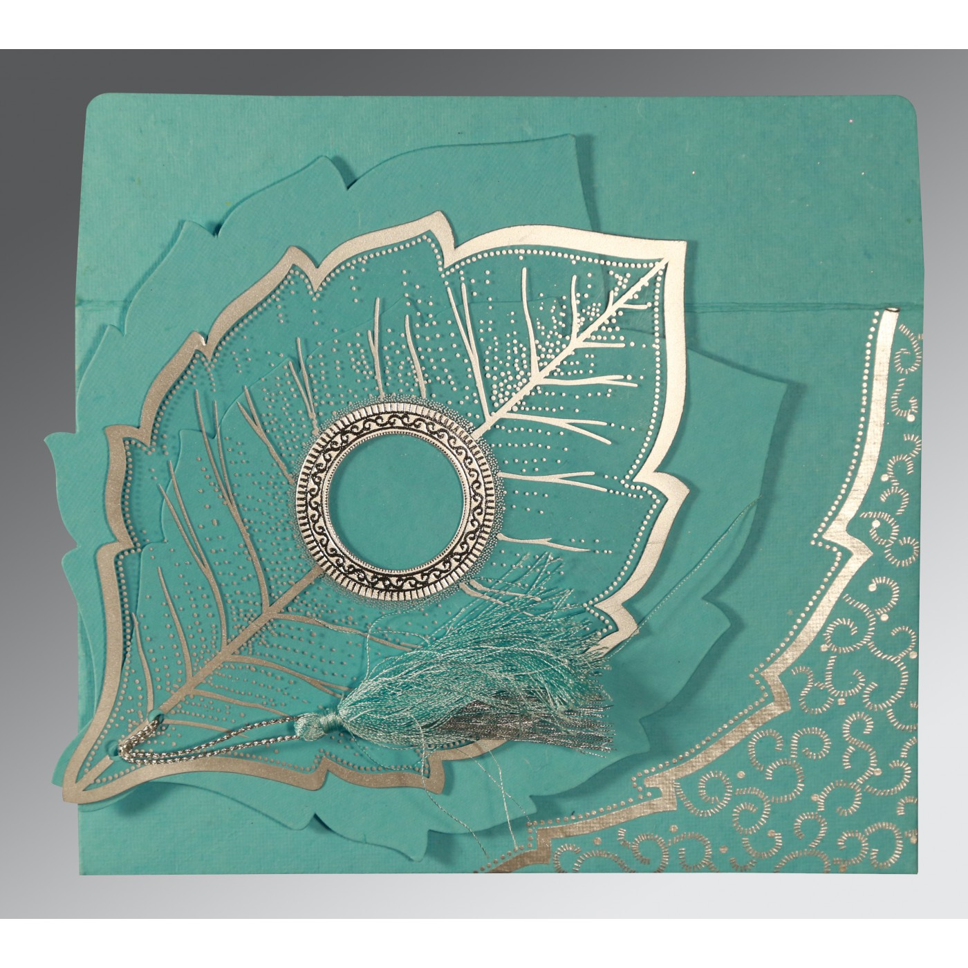 TURQUOISE HANDMADE COTTON FLORAL THEMED - FOIL STAMPED WEDDING CARD : AC-8219P - A2zWeddingCards
