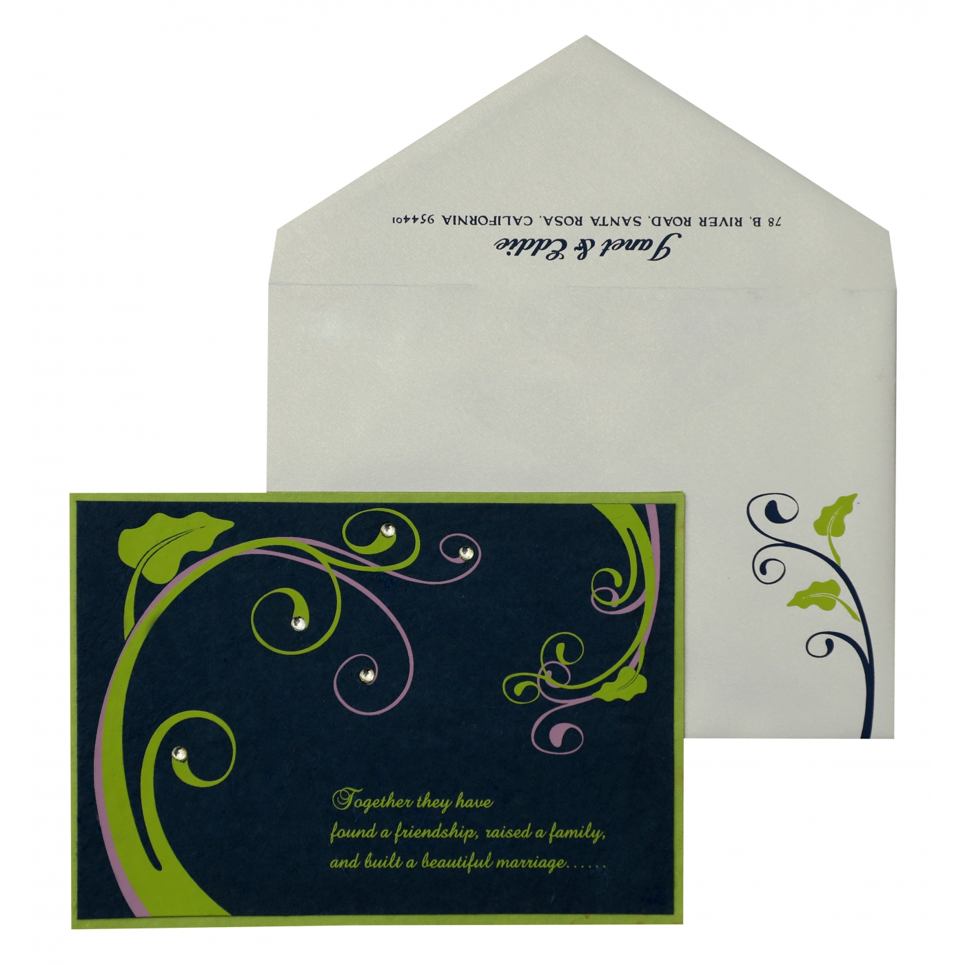 PARROT GREEN BLUE HANDMADE SILK FLORAL THEMED - SCREEN PRINTED PARTY CARDS : APY-883 - A2zWeddingCards
