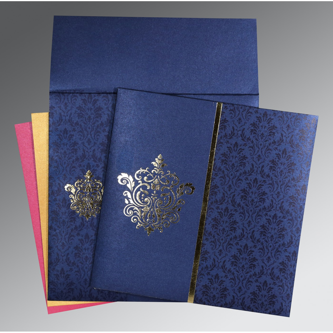 BLUE SHIMMERY DAMASK THEMED - FOIL STAMPED WEDDING CARD : AS-1503 - A2zWeddingCards