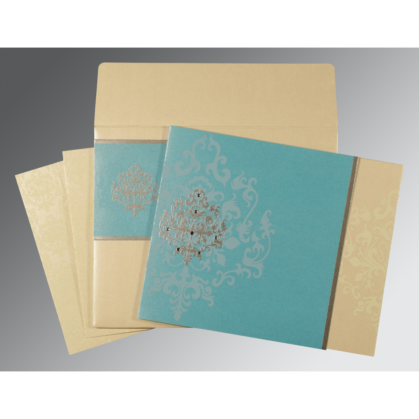 IVORY TURQUOISE SHIMMERY DAMASK THEMED - SCREEN PRINTED WEDDING CARD : AG-8253E - A2zWeddingCards