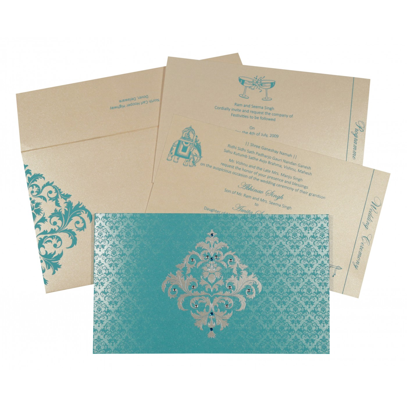 TURQUOISE SHIMMERY DAMASK THEMED - SCREEN PRINTED WEDDING CARD : AIN-8257E - A2zWeddingCards