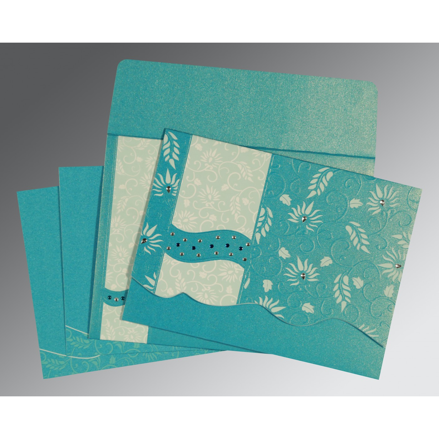 TURQUOISE SHIMMERY FLORAL THEMED - EMBOSSED WEDDING INVITATION : AS-8236J - A2zWeddingCards
