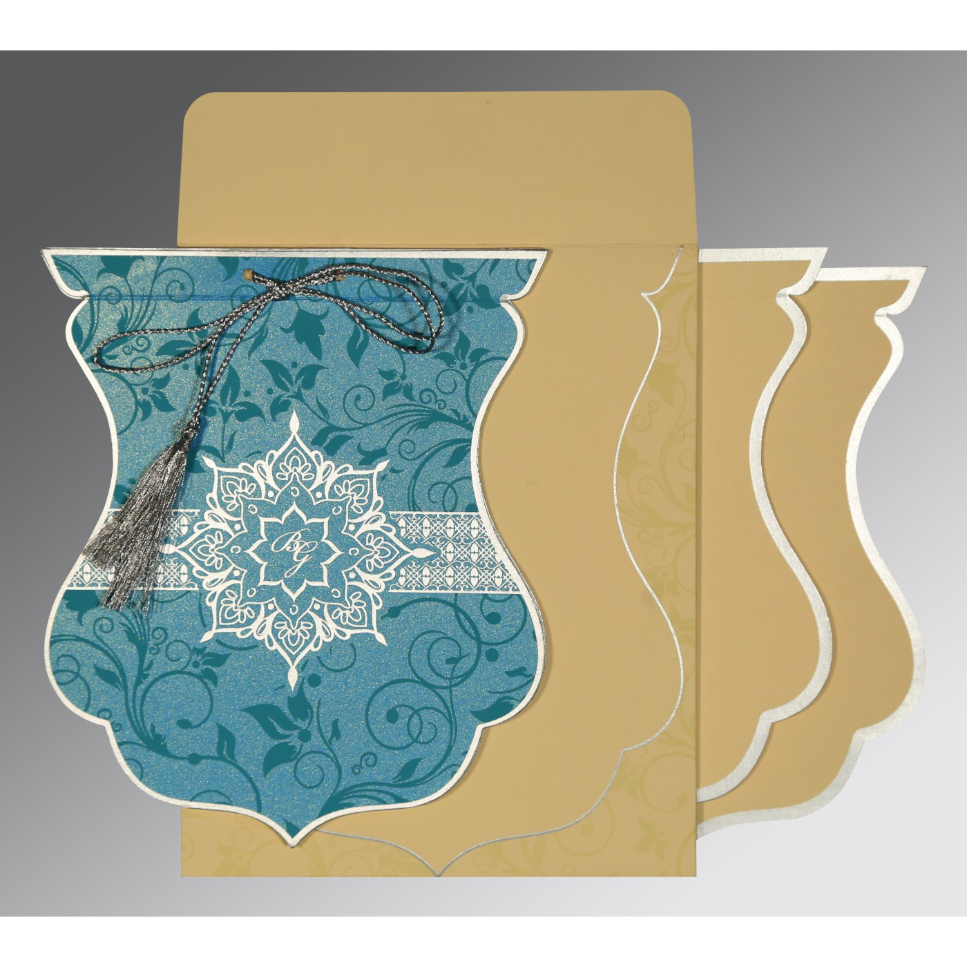 TURQUOISE SHIMMERY FLORAL THEMED - SCREEN PRINTED WEDDING CARD : AG-8229M - A2zWeddingCards