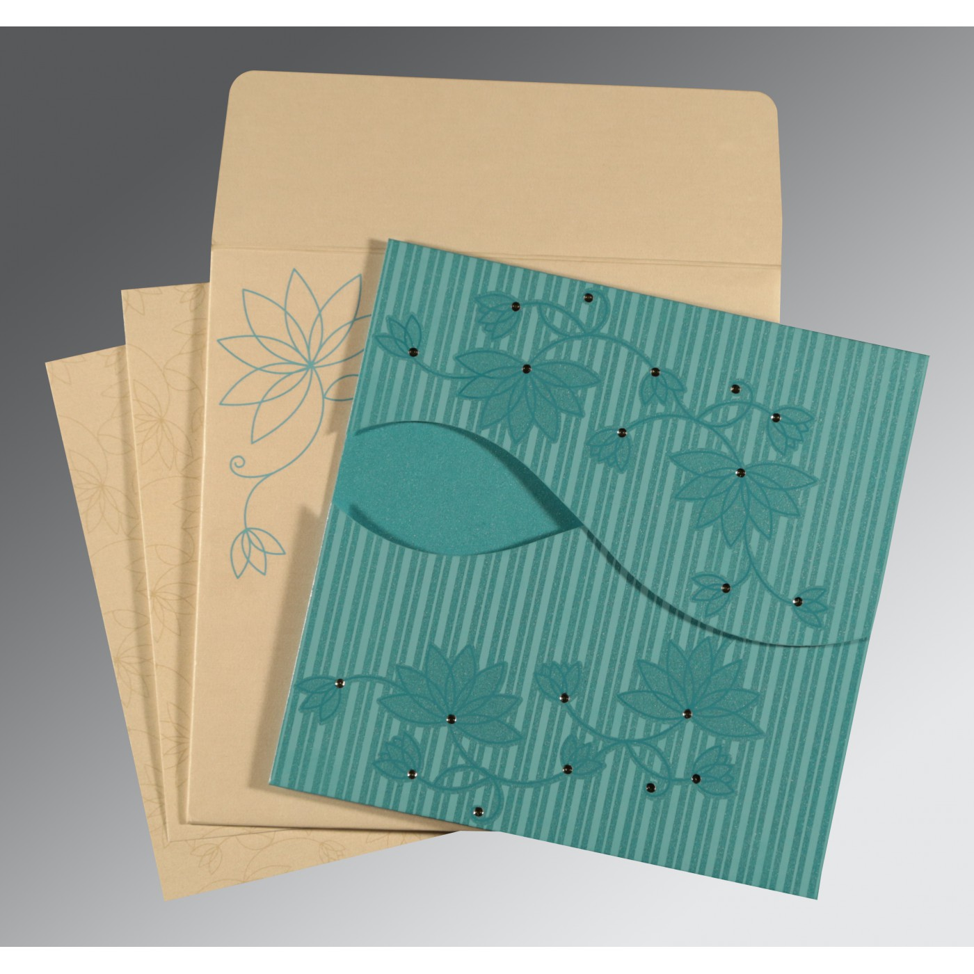 TURQUOISE SHIMMERY FLORAL THEMED - SCREEN PRINTED WEDDING INVITATION : AIN-8251A - A2zWeddingCards
