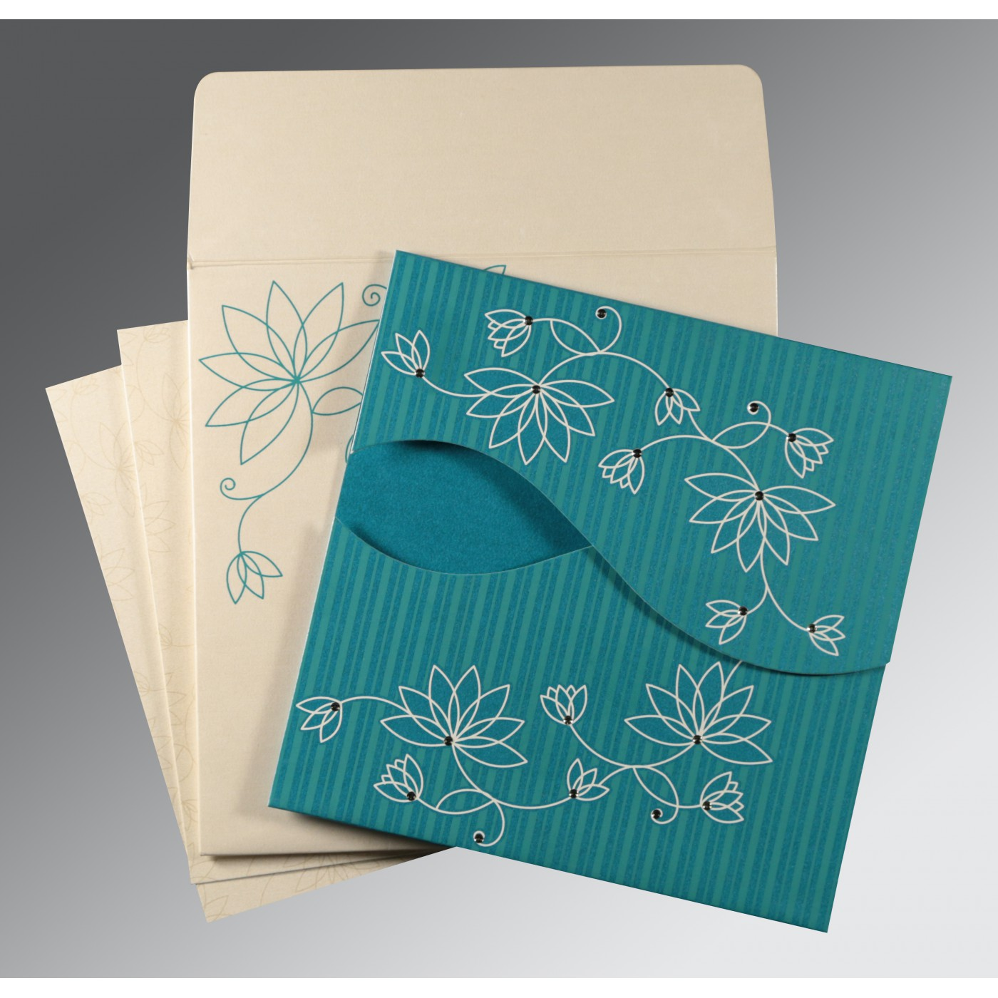 TURQUOISE SHIMMERY FLORAL THEMED - SCREEN PRINTED WEDDING INVITATION : ASO-8251G - A2zWeddingCards