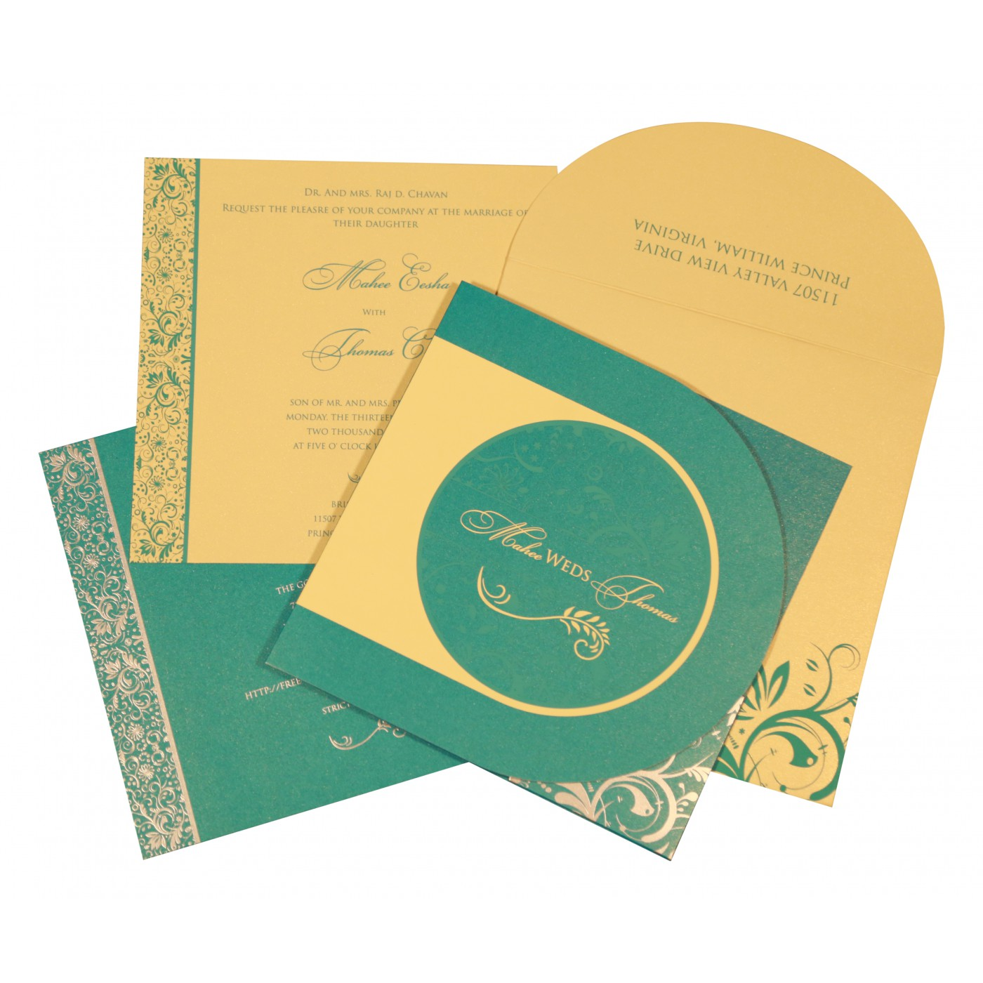 STRONG TURQUOISE SHIMMERY FLORAL THEMED - SCREEN PRINTED WEDDING CARD : AS-8264C - A2zWeddingCards