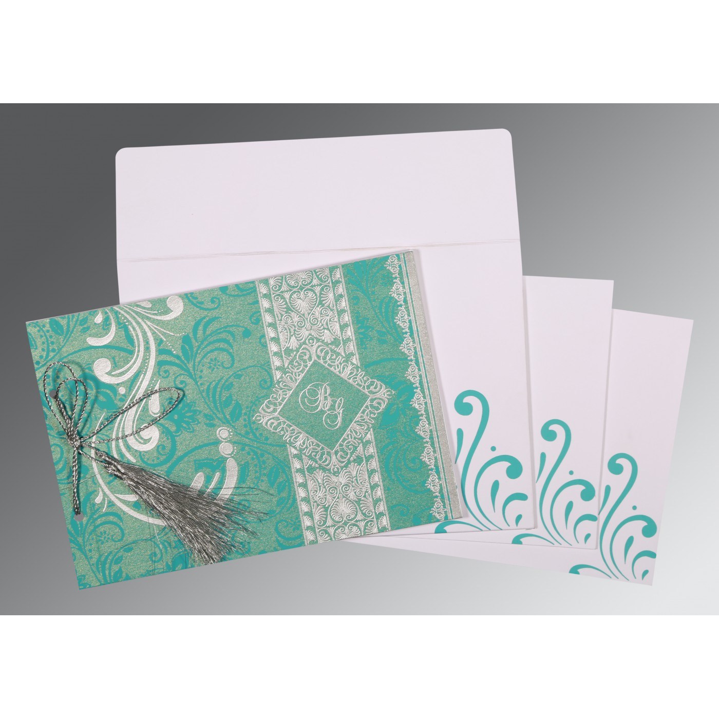 TURQUOISE SHIMMERY SCREEN PRINTED WEDDING CARD : AD-8223H - A2zWeddingCards