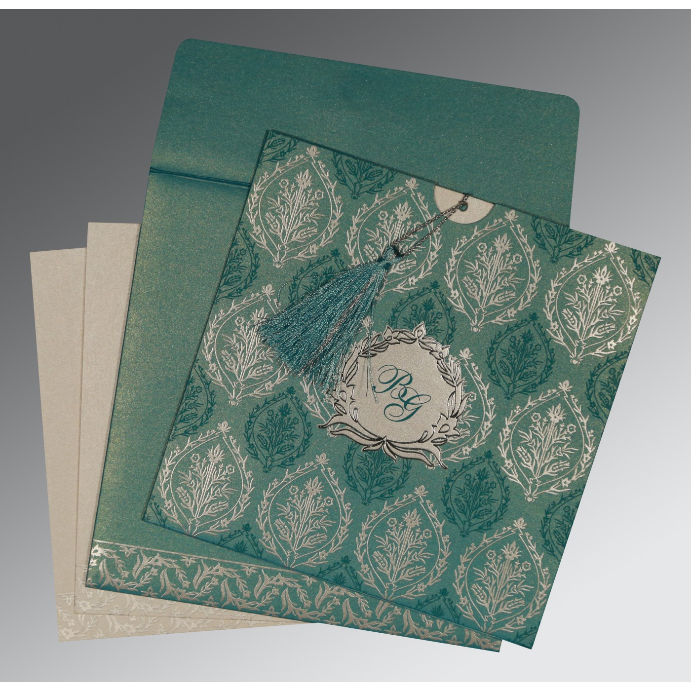 TEAL BLUE SHIMMERY UNIQUE THEMED - FOIL STAMPED WEDDING CARD : AD-8249D - A2zWeddingCards