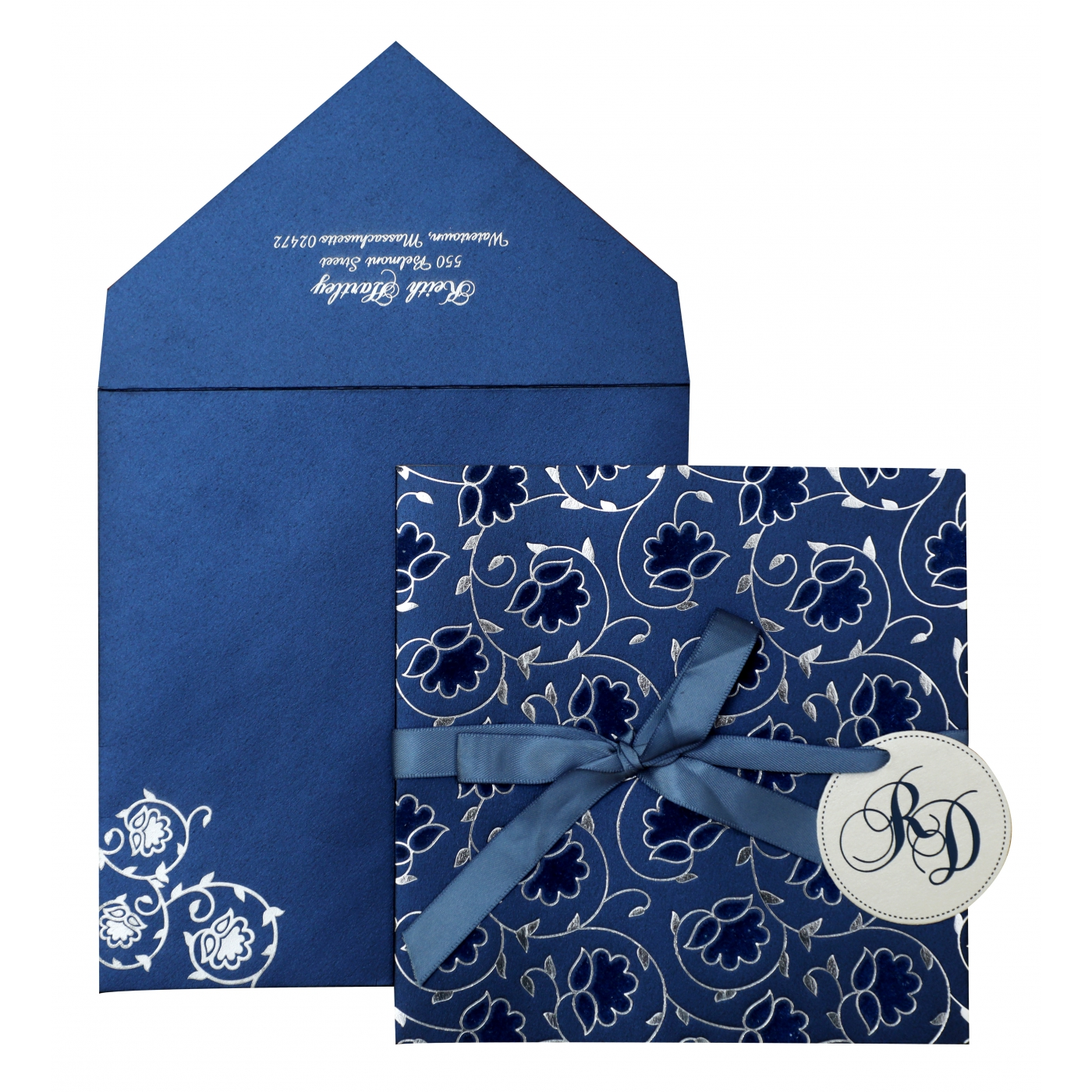 BLUE WHITE SHIMMERY FLORAL THEMED - FOIL STAMPED WEDDING INVITATION : AW-839 - A2zWeddingCards