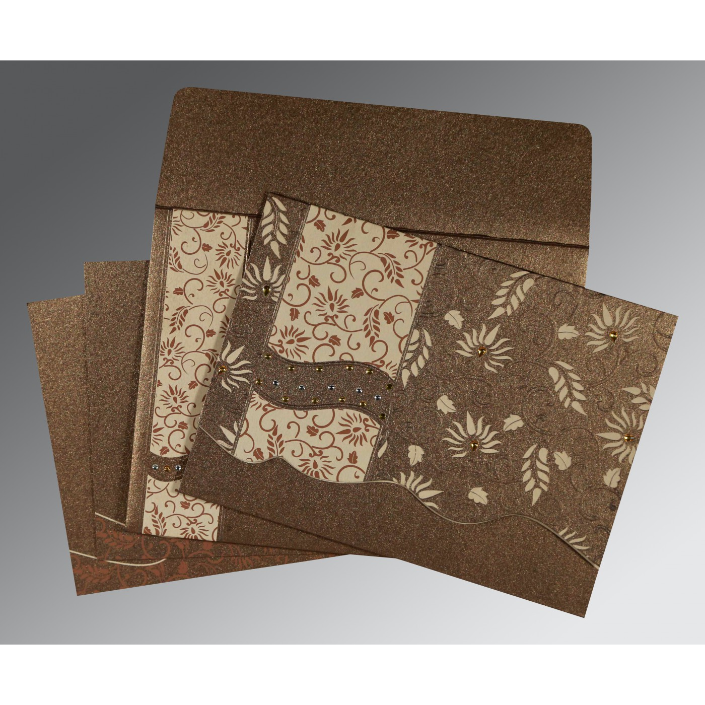 BROWN SHIMMERY FLORAL THEMED - EMBOSSED WEDDING INVITATION : AI-8236I - A2zWeddingCards