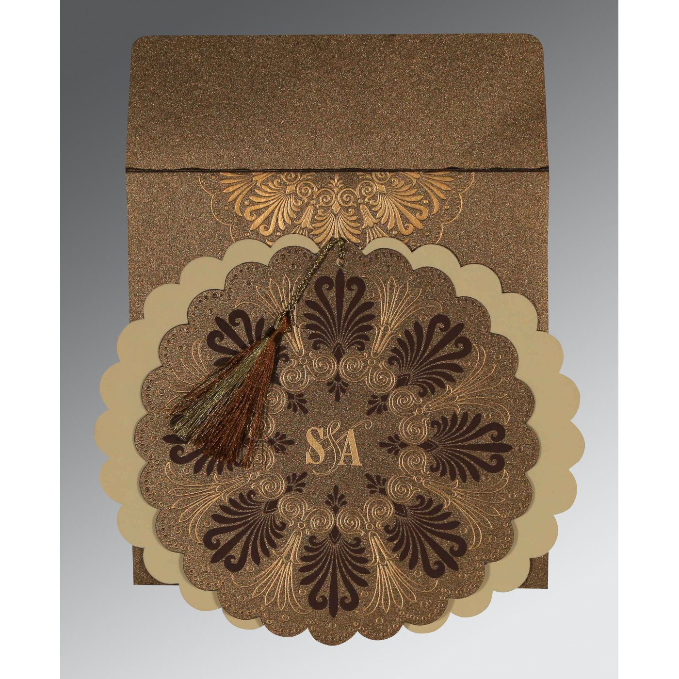 SHINGLE FAWN SHIMMERY FLORAL THEMED - EMBOSSED WEDDING CARD : AIN-8238G - A2zWeddingCards