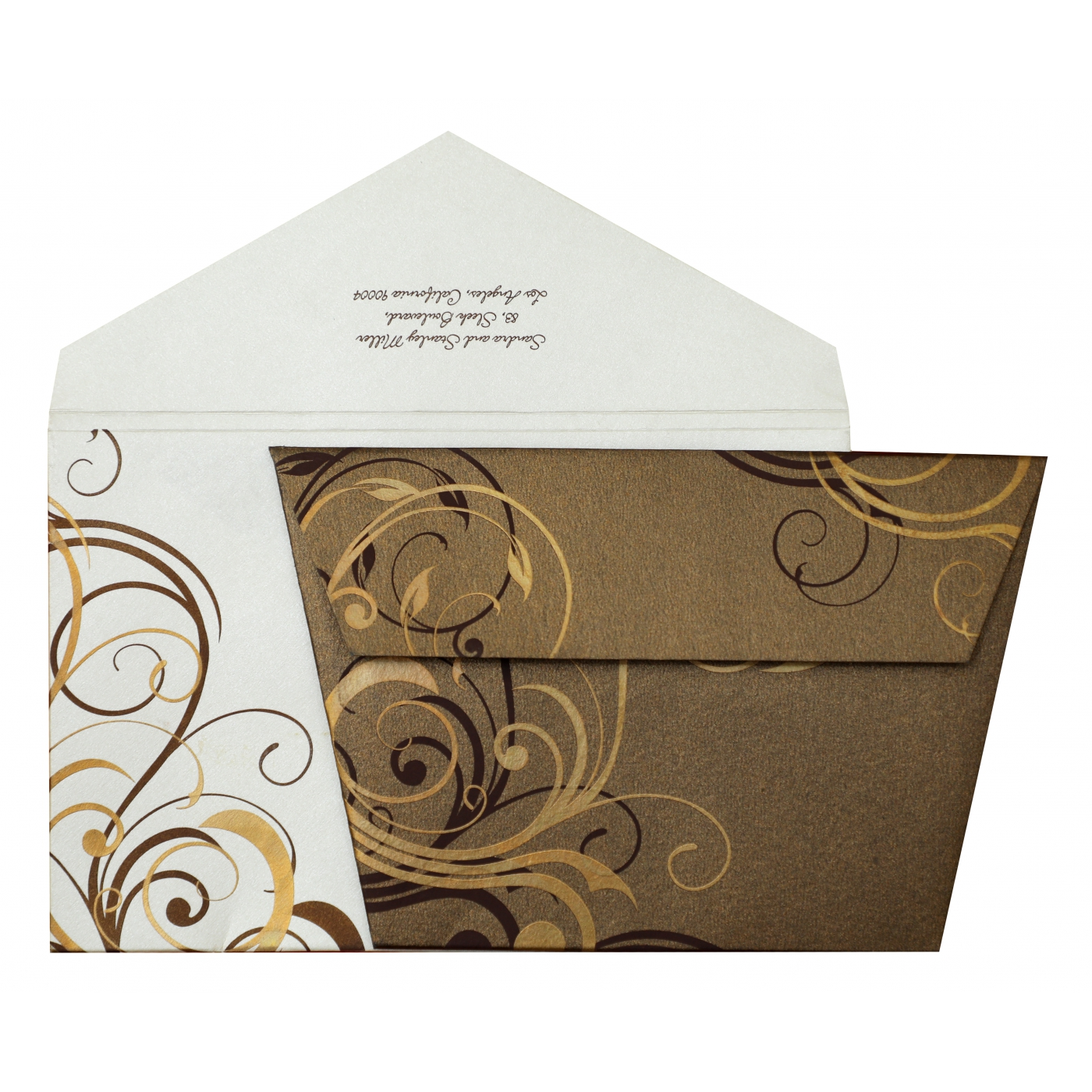 BROWN SHIMMERY FLORAL THEMED - SCREEN PRINTED WEDDING INVITATION : AIN-834 - A2zWeddingCards