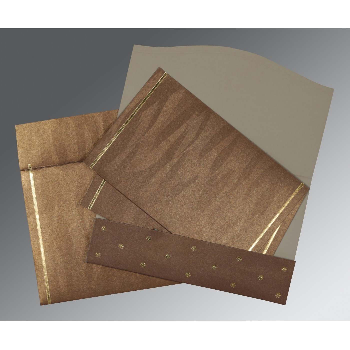 LIGHT BROWN SHIMMERY POCKET THEMED - FOIL STAMPED WEDDING CARD : AI-1413 - A2zWeddingCards