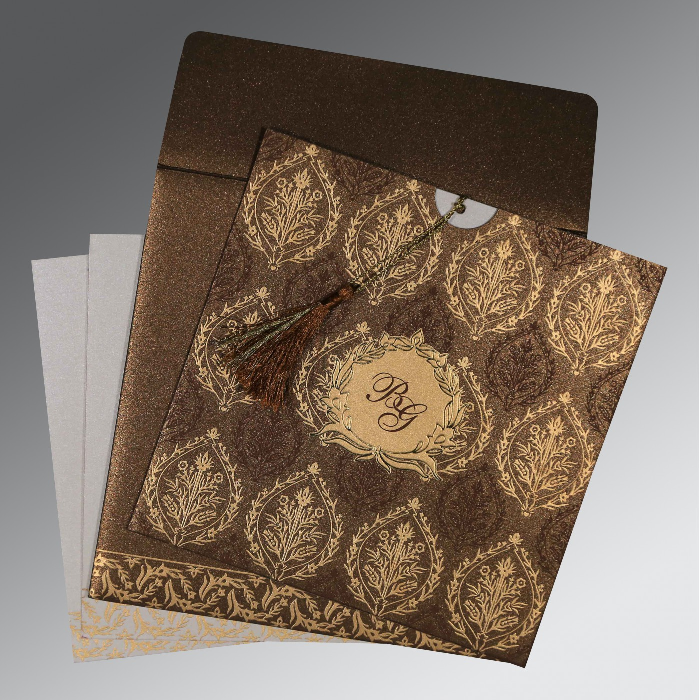 BROWN SHIMMERY UNIQUE THEMED - FOIL STAMPED WEDDING CARD : AG-8249J - A2zWeddingCards