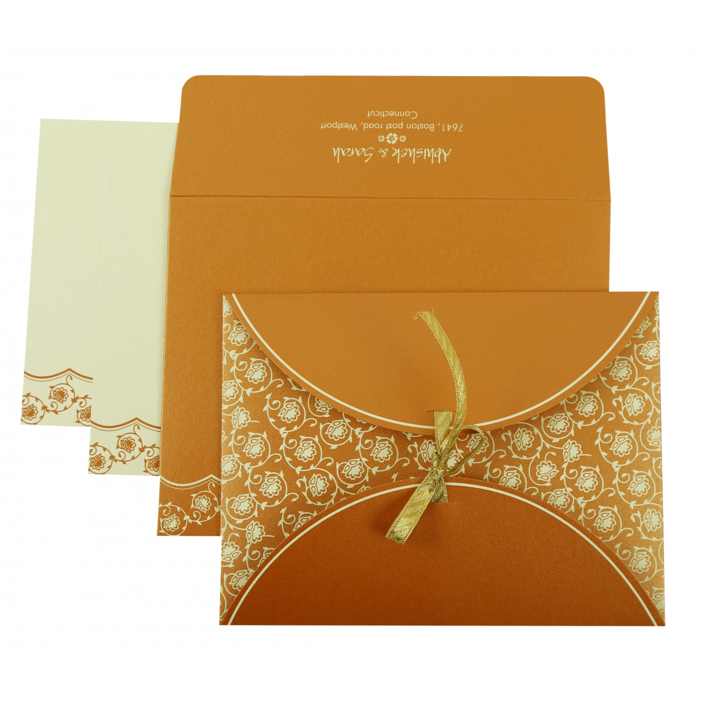 COPPER SHIMMERY BUTTERFLY THEMED - SCREEN PRINTED WEDDING INVITATION : AG-821C - A2zWeddingCards