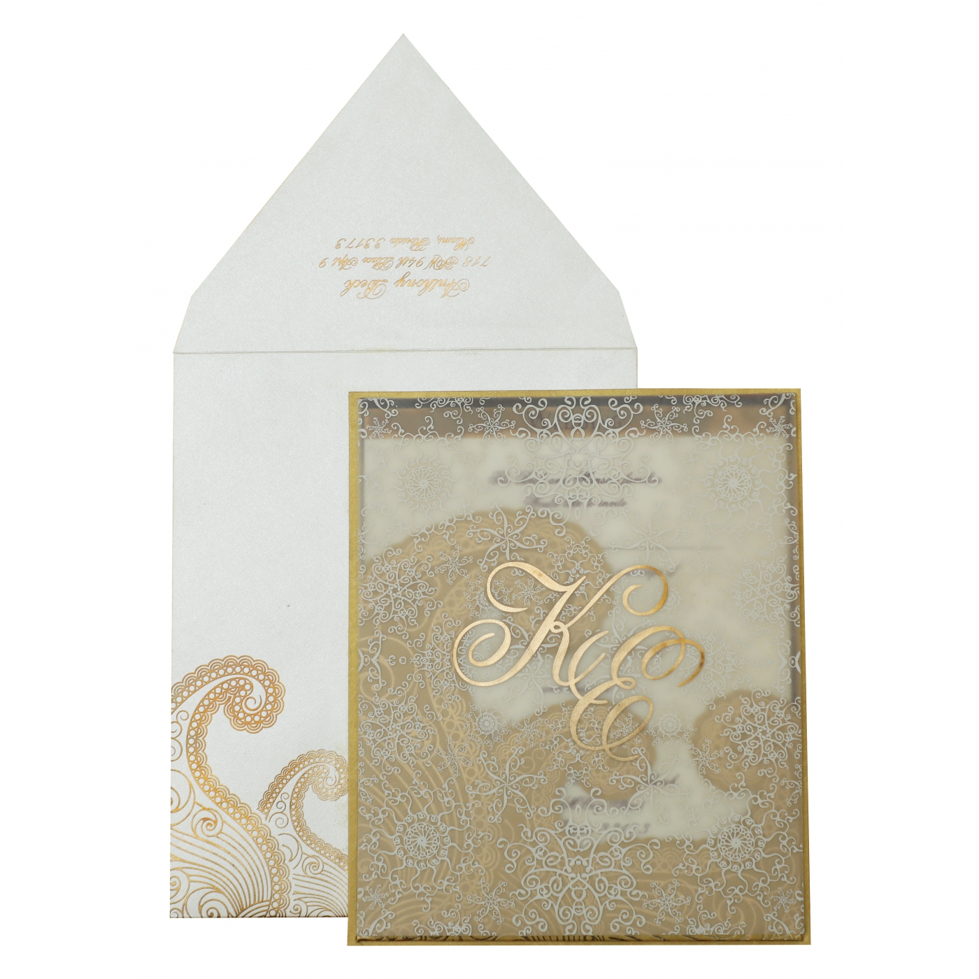 OFF-WHITE GOLD SHIMMERY SCREEN PRINTED WEDDING INVITATION : AS-829 - A2zWeddingCards