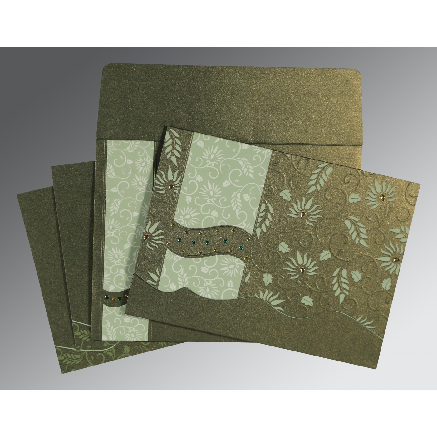 DEEP SAGE SHIMMERY FLORAL THEMED - EMBOSSED WEDDING INVITATION : AW-8236H - A2zWeddingCards