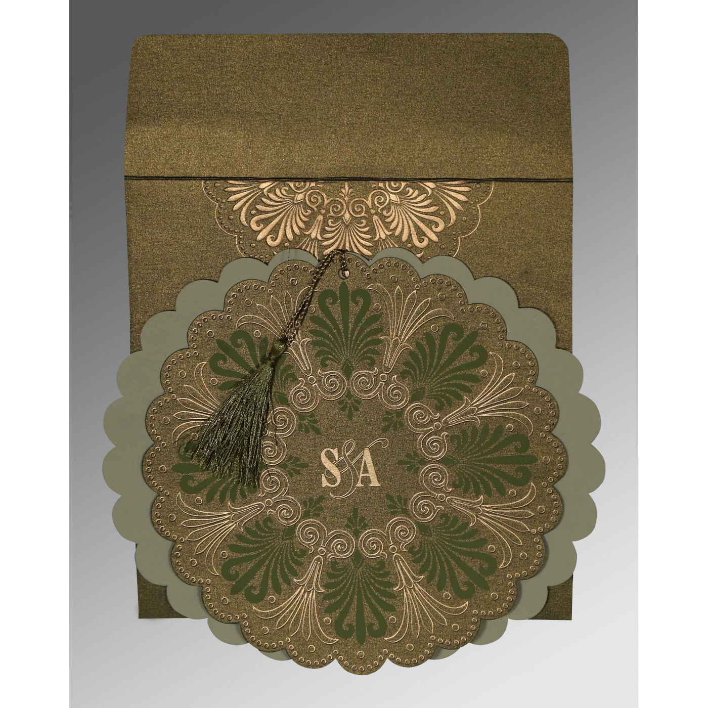 DARK OLIVE GREEN SHIMMERY FLORAL THEMED - EMBOSSED WEDDING CARD : AW-8238K - A2zWeddingCards