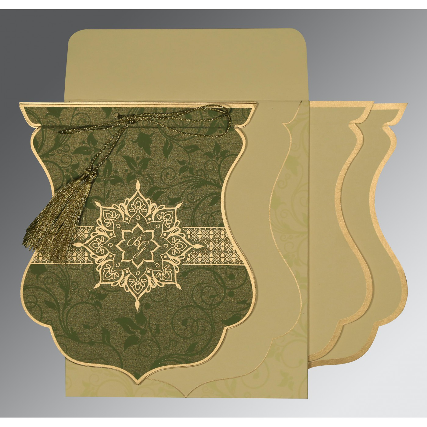 OLIVE GREEN SHIMMERY FLORAL THEMED - SCREEN PRINTED WEDDING CARD : AG-8229P - A2zWeddingCards