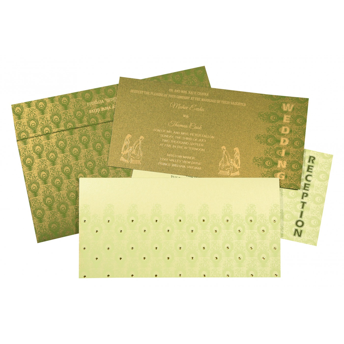 PALE YELLOW SHIMMERY PEACOCK THEMED - SCREEN PRINTED WEDDING INVITATION : AC-8256F - A2zWeddingCards