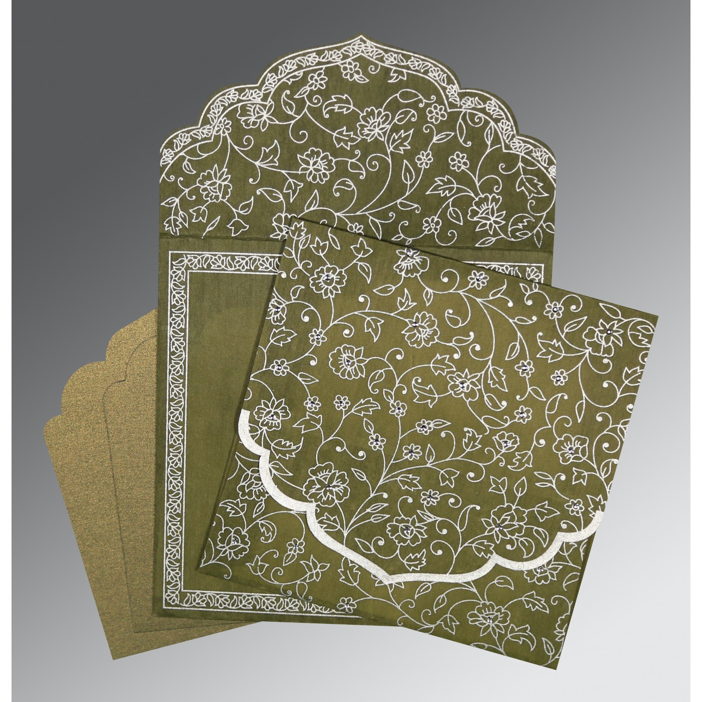 OLIVE GREEN WOOLY FLORAL THEMED - SCREEN PRINTED WEDDING INVITATION : ASO-8211M - A2zWeddingCards