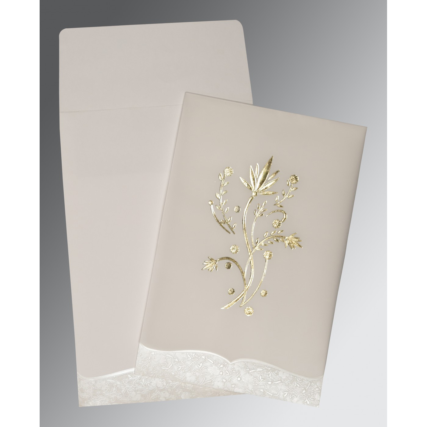 OFF-WHITE FLORAL THEMED - FOIL STAMPED WEDDING CARD : AI-1495 - A2zWeddingCards