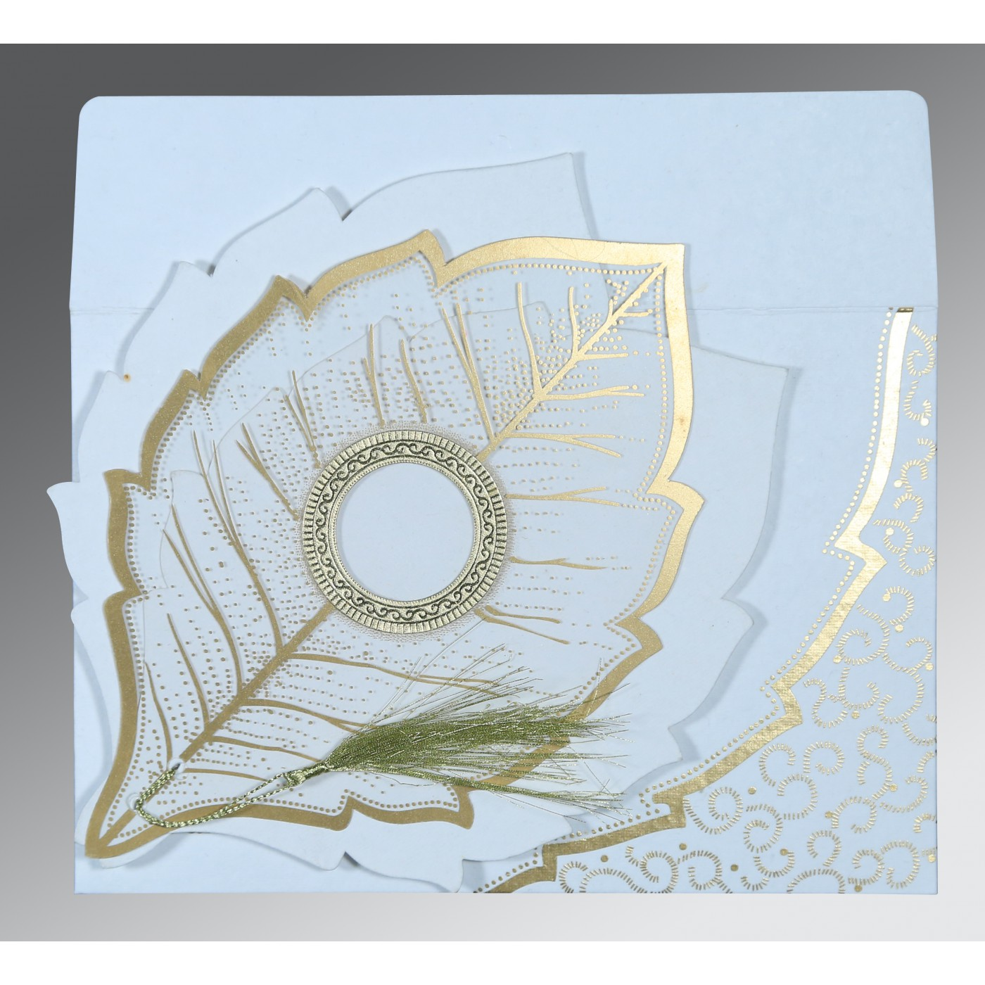 WHITE TRANSPARENT HANDMADE COTTON FLORAL THEMED - FOIL STAMPED WEDDING CARD : AW-8219H - A2zWeddingCards