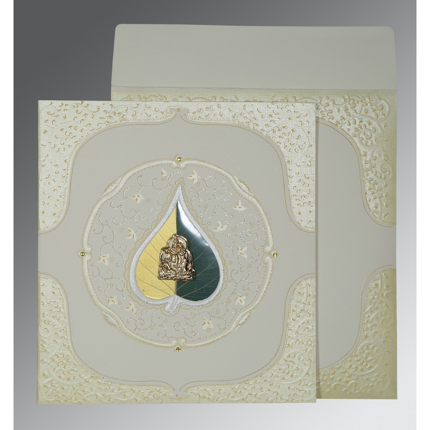 OFF-WHITE MATTE EMBOSSED WEDDING CARD : AG-1153 - A2zWeddingCards