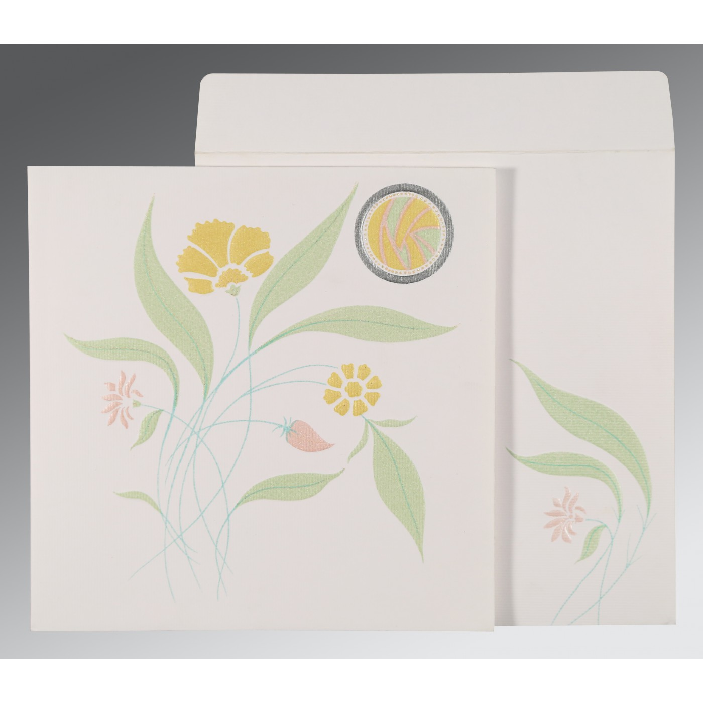 OFF-WHITE MATTE FLORAL THEMED - EMBOSSED WEDDING INVITATION : AD-1114 - A2zWeddingCards