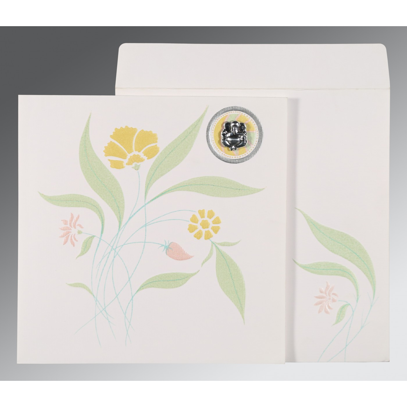 OFF-WHITE MATTE FLORAL THEMED - EMBOSSED WEDDING INVITATION : AW-1114 - A2zWeddingCards