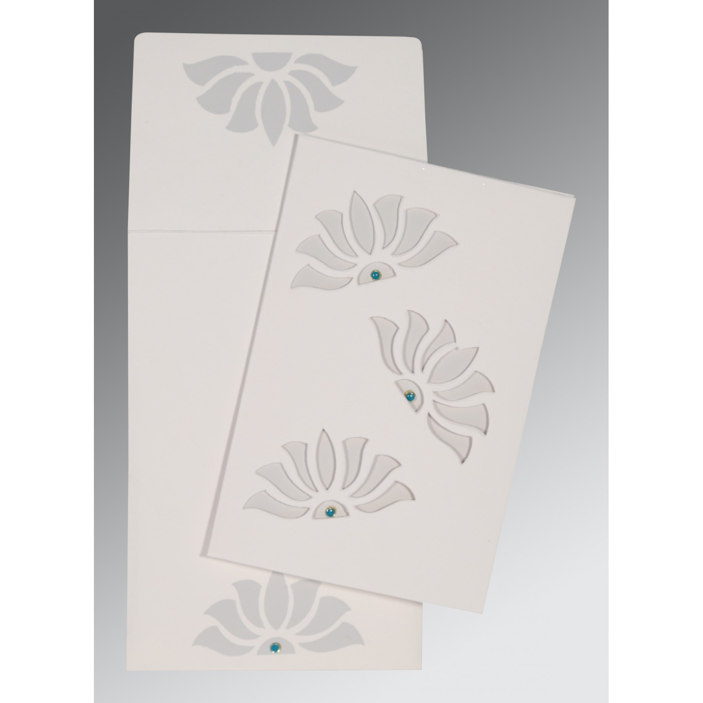 OFF-WHITE MATTE FLORAL THEMED - SCREEN PRINTED WEDDING INVITATION : AW-1254 - A2zWeddingCards