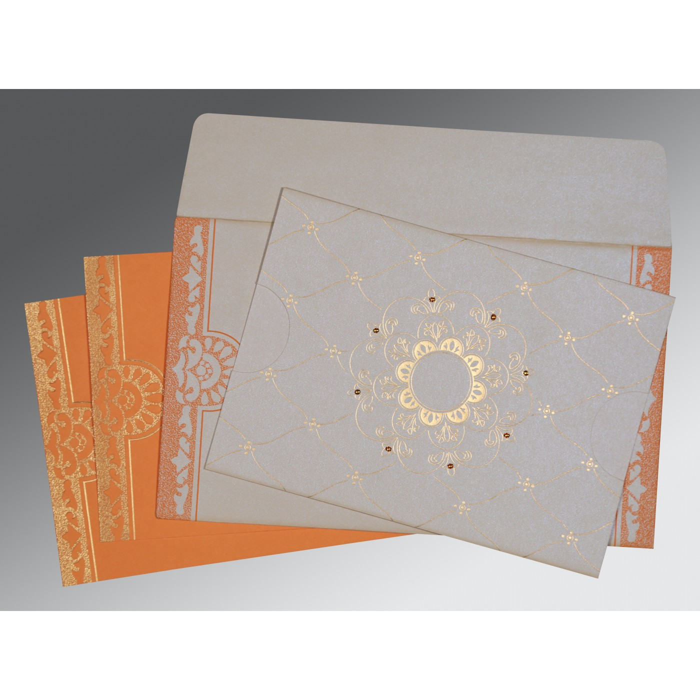 OFF-WHITE SHIMMERY FLORAL THEMED - SCREEN PRINTED WEDDING CARD : AD-8227D - A2zWeddingCards