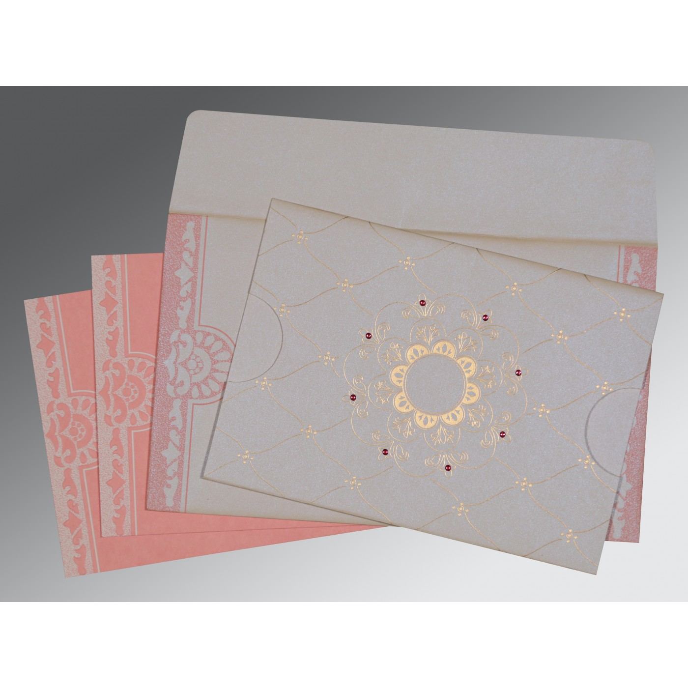 OFF-WHITE PINK SHIMMERY FLORAL THEMED - SCREEN PRINTED WEDDING CARD : AD-8227M - A2zWeddingCards