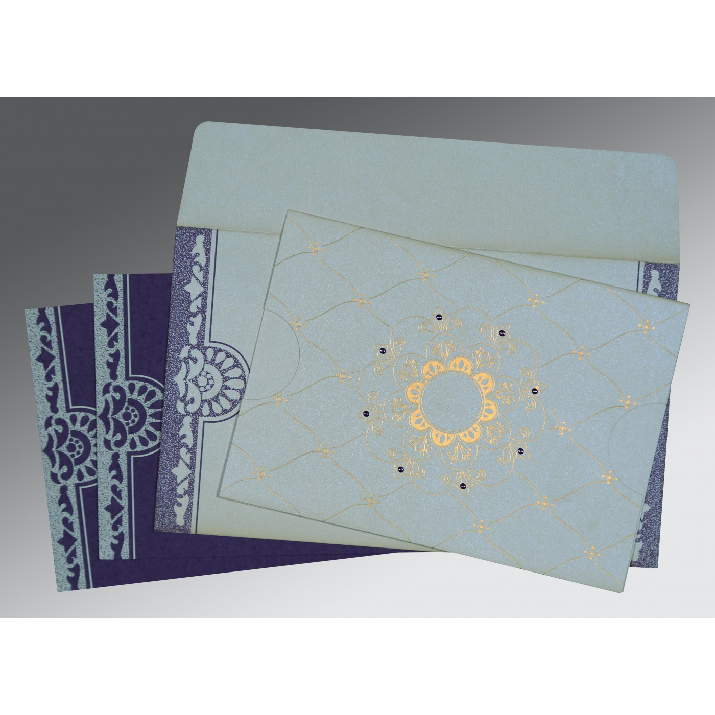 OFF-WHITE SHIMMERY FLORAL THEMED - SCREEN PRINTED WEDDING CARD : AIN-8227E - A2zWeddingCards