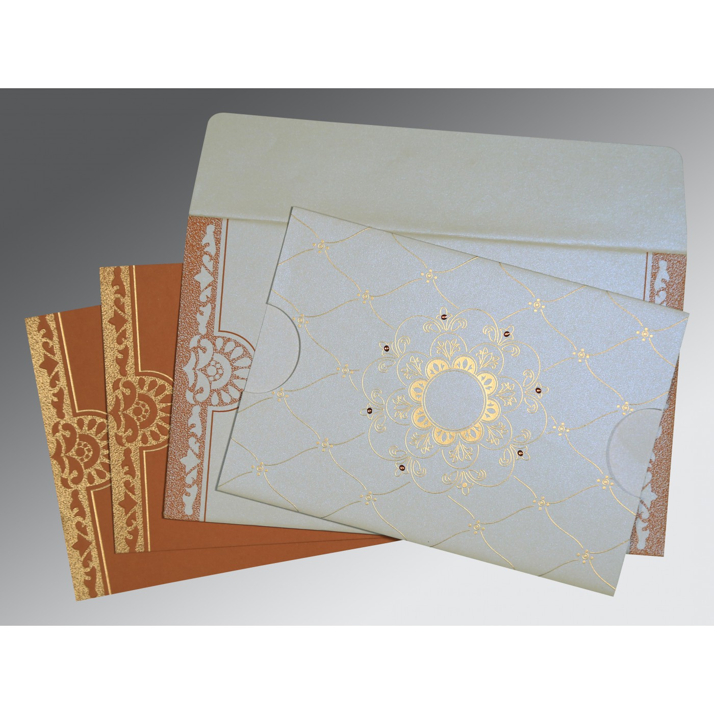 OFF-WHITE SHIMMERY FLORAL THEMED - SCREEN PRINTED WEDDING CARD : AIN-8227H - A2zWeddingCards