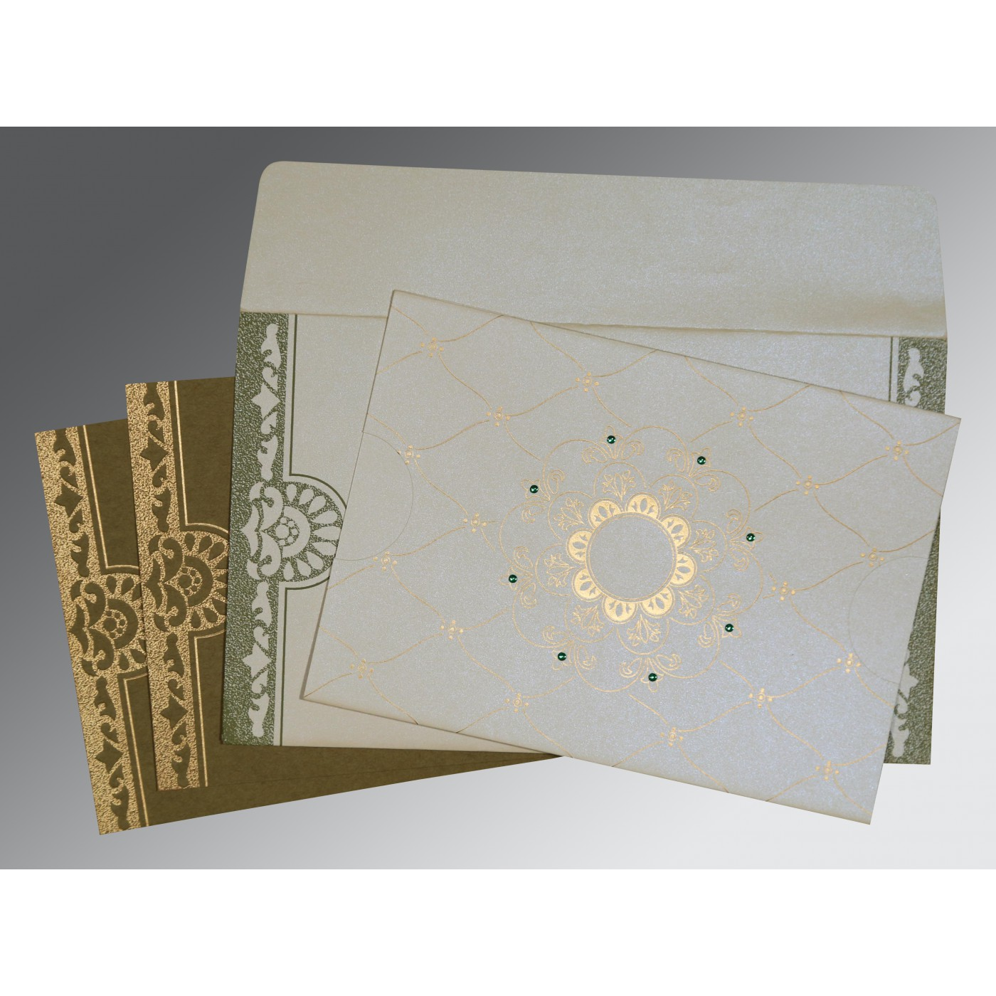 OFF-WHITE SHIMMERY FLORAL THEMED - SCREEN PRINTED WEDDING CARD : AS-8227F - A2zWeddingCards