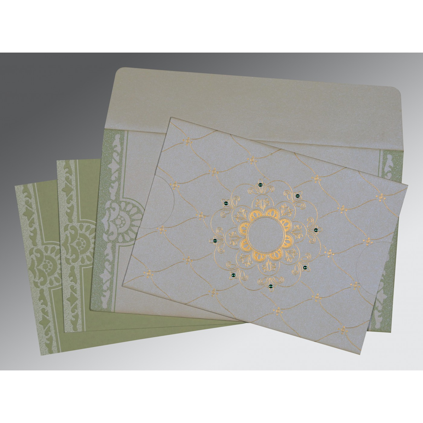OFF-WHITE SHIMMERY FLORAL THEMED - SCREEN PRINTED WEDDING CARD : ASO-8227J - A2zWeddingCards